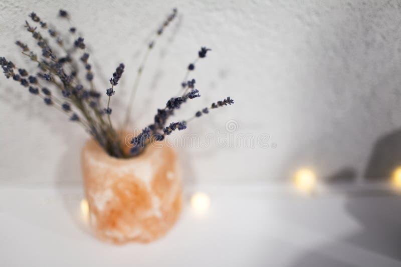 Ramalhete de flores da alfazema no potenciômetro alaranjado imagens de stock royalty free