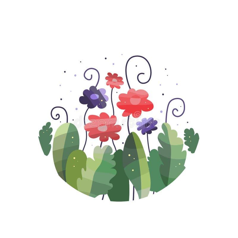 Ramalhete de flores e das folhas fantásticas ilustração stock