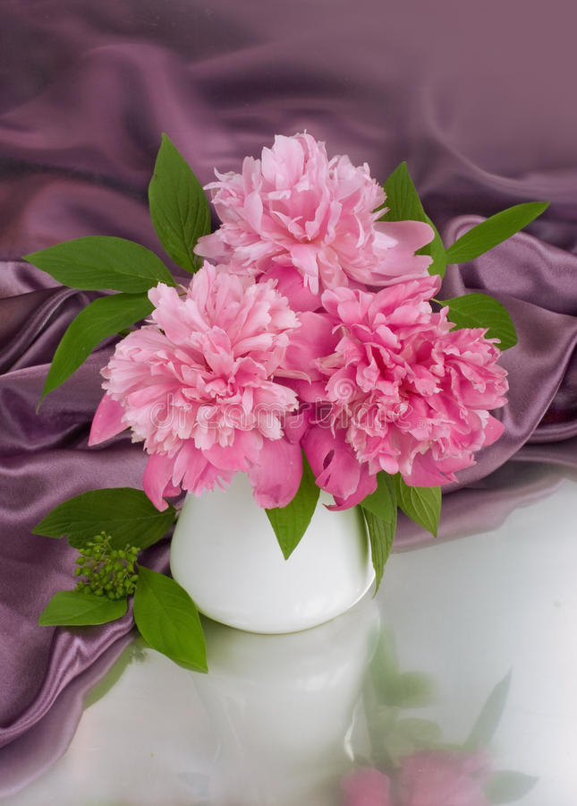 Ramalhete de peonies cor-de-rosa fotografia de stock royalty free