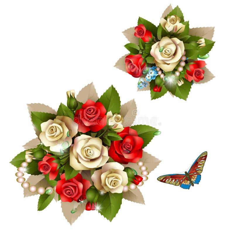 Ramalhete de rosas bonitas ilustração do vetor