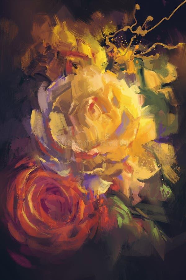 Ramalhete de rosas coloridas com estilo da pintura a óleo ilustração stock