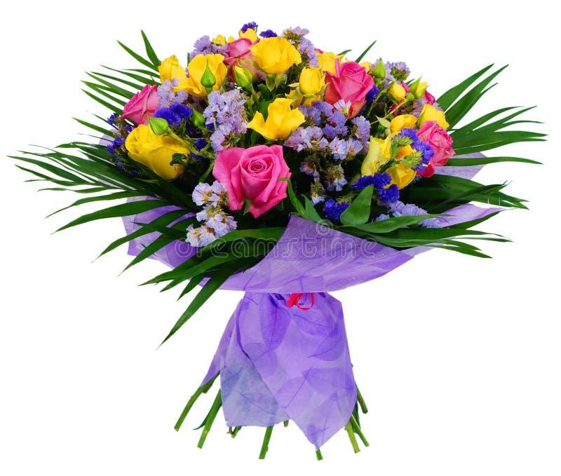 Ramalhete de rosas cor-de-rosa e amarelas imagens de stock