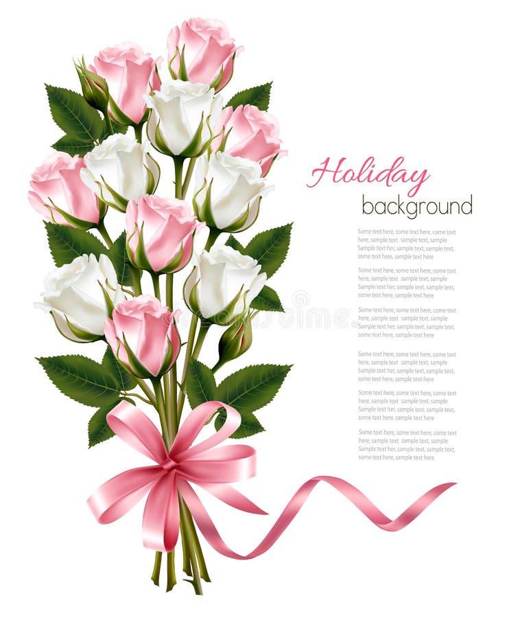Ramalhete de rosas cor-de-rosa e brancas e da fita cor-de-rosa fotos de stock royalty free