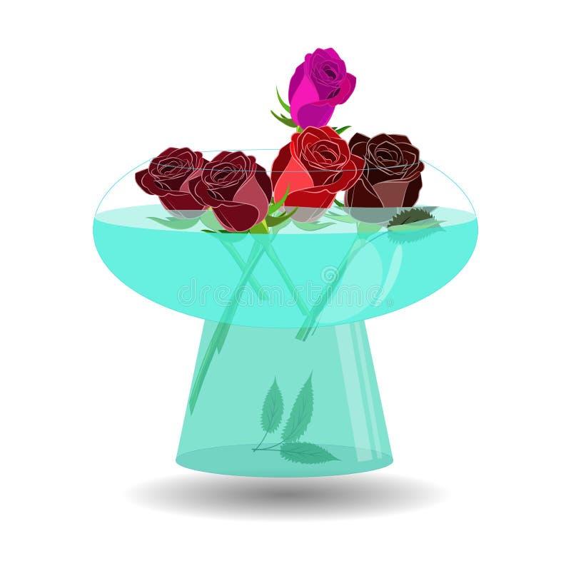 Ramalhete de 5 rosas em um vaso da água Rosas bonitas da ilustração do vetor na bacia transparente agradável com água ilustração stock