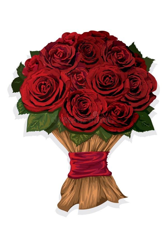 Ramalhete de rosas vermelhas ilustração royalty free