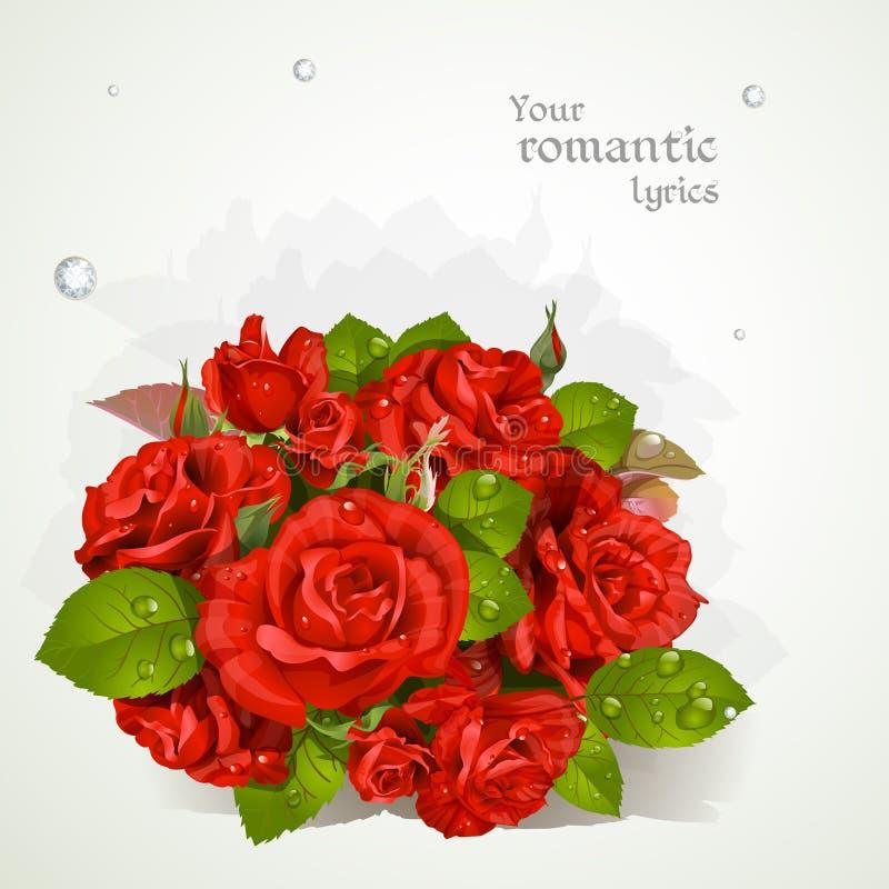 Ramalhete de rosas vermelhas com um campo para seus poemas líricos ilustração royalty free