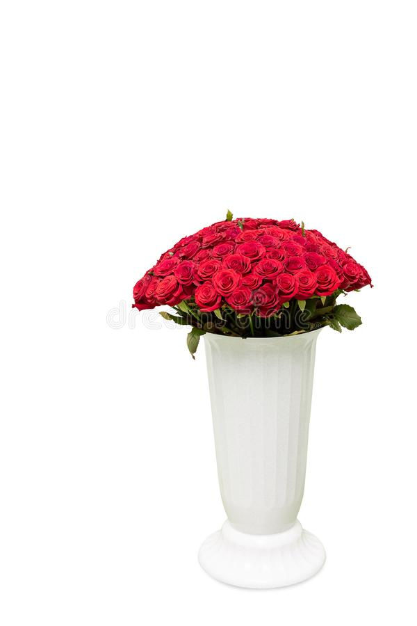 Ramalhete de rosas vermelhas no vaso grande no fundo branco foto de stock royalty free