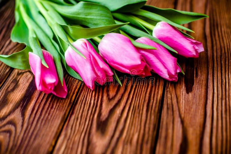 Ramalhete de tulips cor-de-rosa imagens de stock