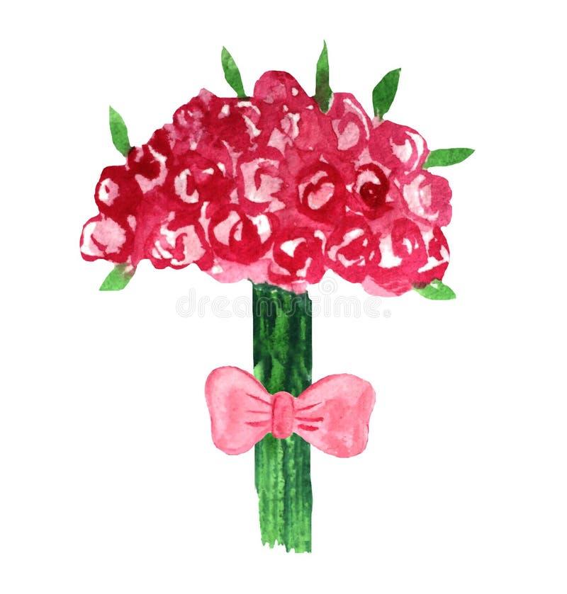 Ramalhete do casamento da aquarela das rosas e das folhas ilustração stock