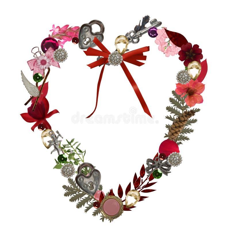 Ramalhete do coração do Valentim ilustração stock