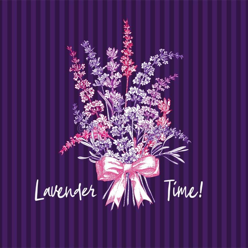 Ramalhete do esboço tirado mão da cor da flor da alfazema e das curvas bonitos isoladas no fundo violeta Teste padrão retro de Fr ilustração royalty free