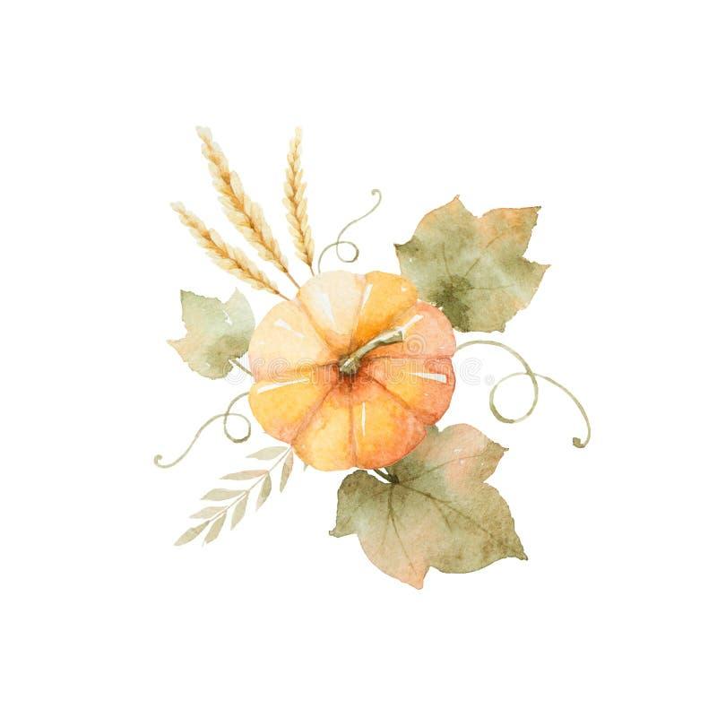 Ramalhete do outono da aquarela das folhas, dos ramos e das abóboras isolados no fundo branco ilustração royalty free