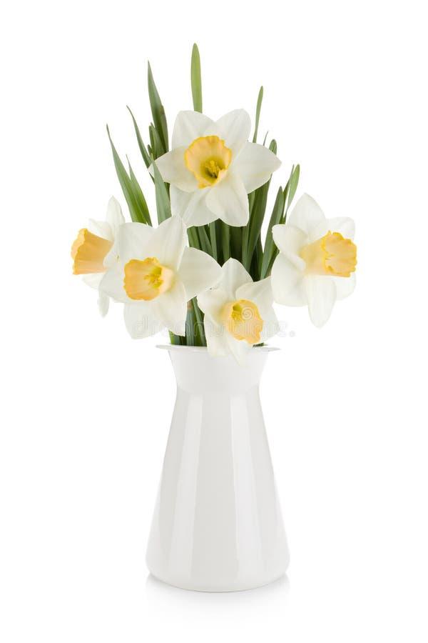 Ramalhete dos daffodils brancos no flowerpot fotos de stock royalty free