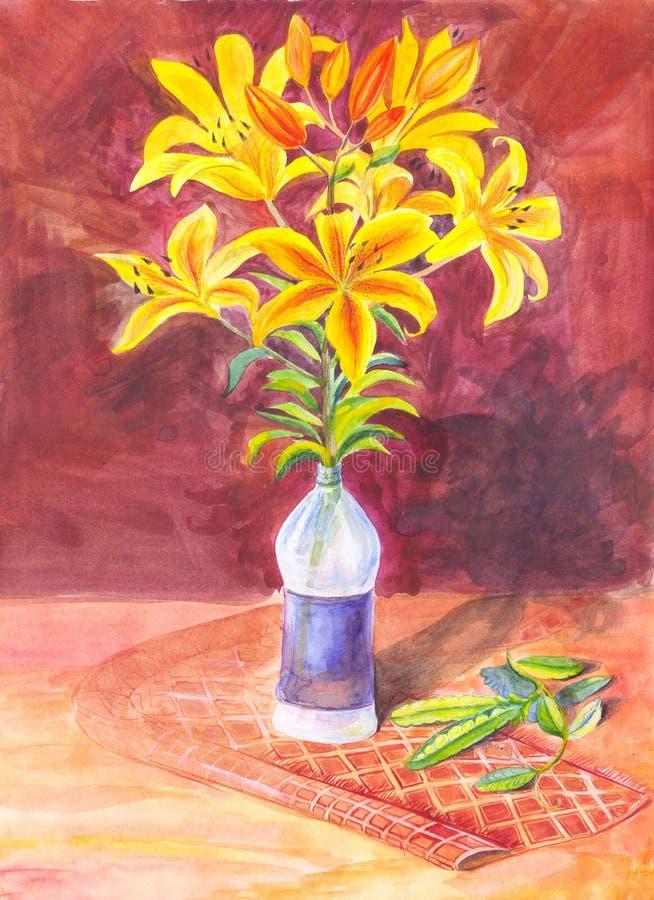 Ramalhete dos lírios amarelos pintados com aquarela Ainda vida, SU ilustração stock
