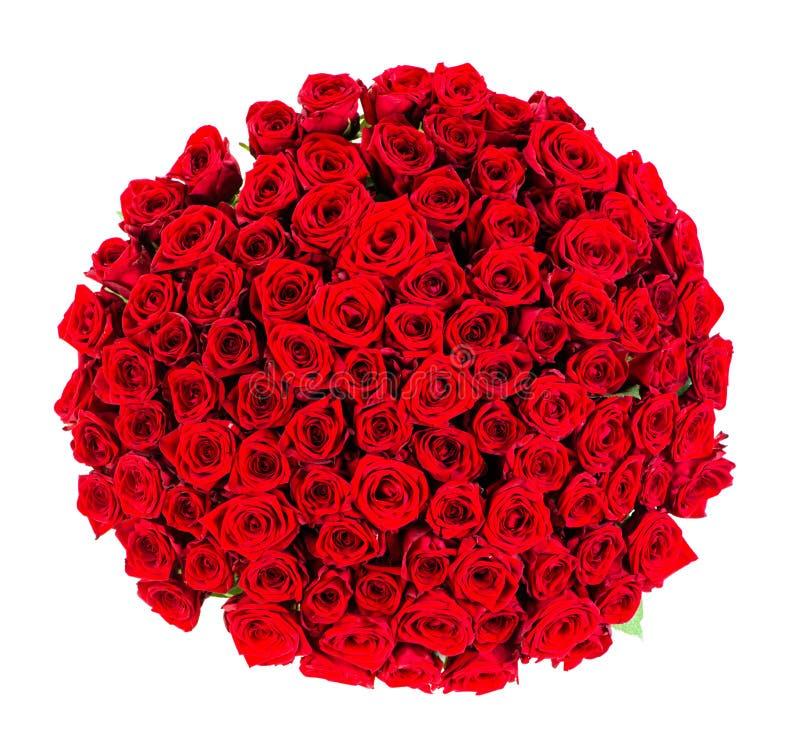 Ramalhete enorme da opinião superior de rosas vermelhas fotos de stock