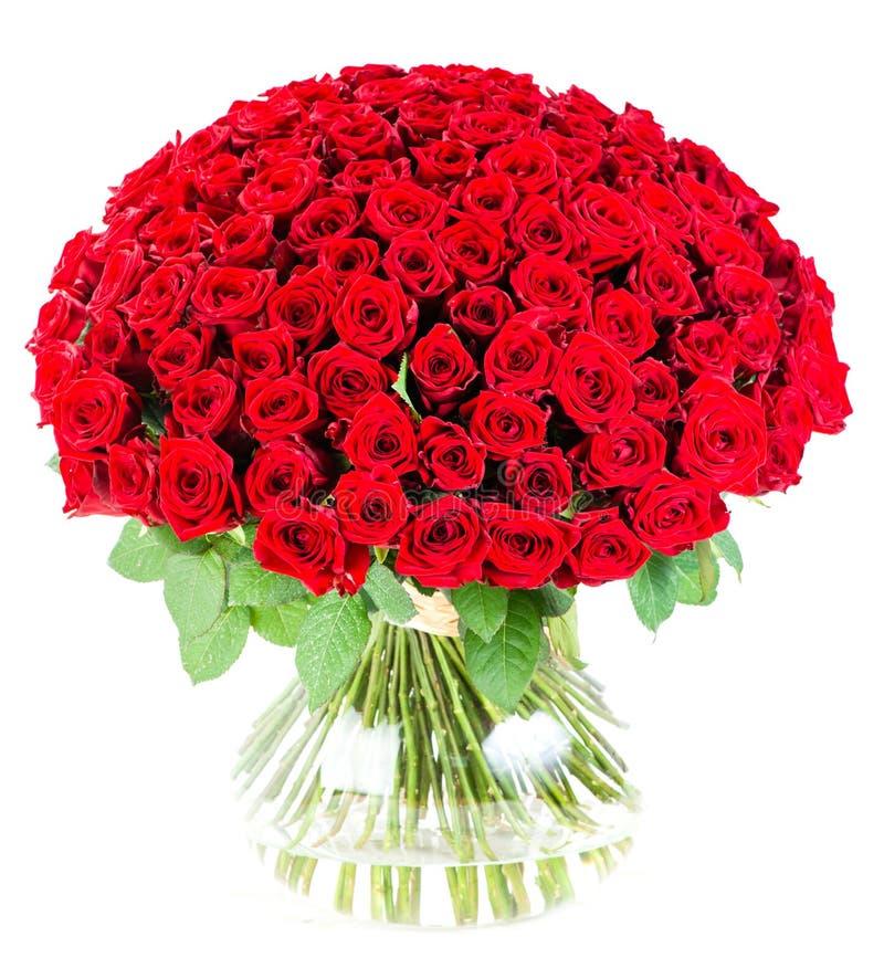 Ramalhete enorme de rosas vermelhas em um vaso imagens de stock