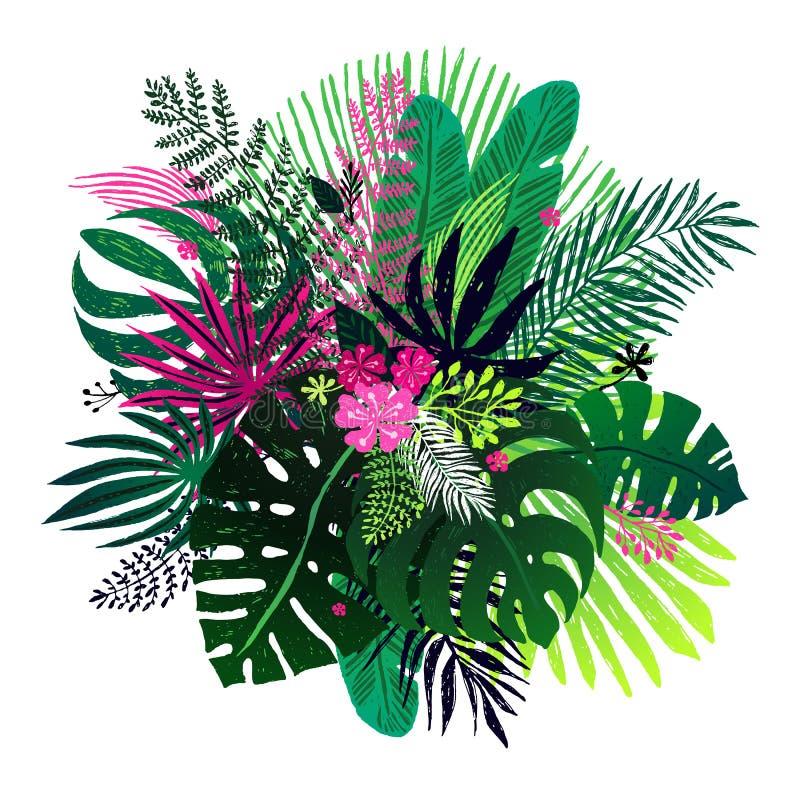 Ramalhete exótico de plantas tropicais, de folhas de palmeira e de flores em um fundo branco Ilustração botânica do vetor, projet ilustração stock