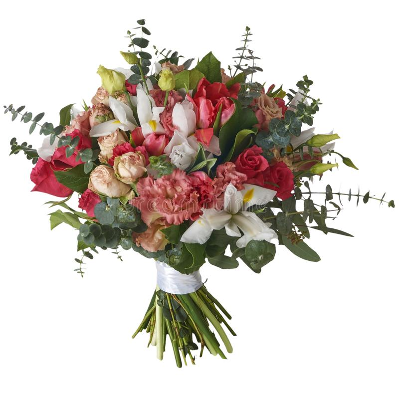 Ramalhete festivo das flores em um pacote bonito imagem de stock