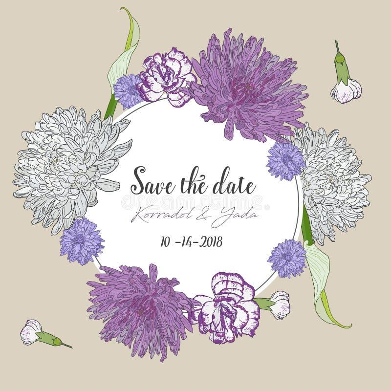 Ramalhete floral com as flores tiradas mão da mola ilustração royalty free