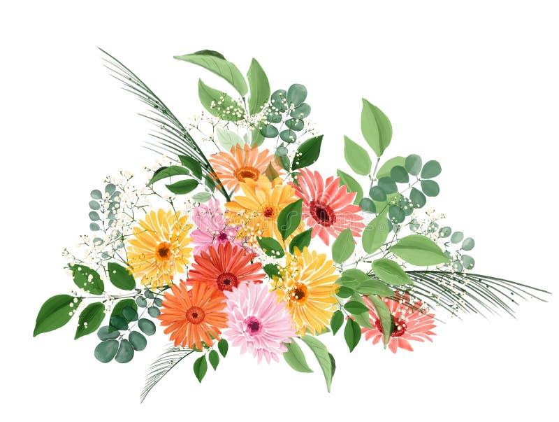 Ramalhete floral da aquarela com gerberas e folhas ilustração do vetor