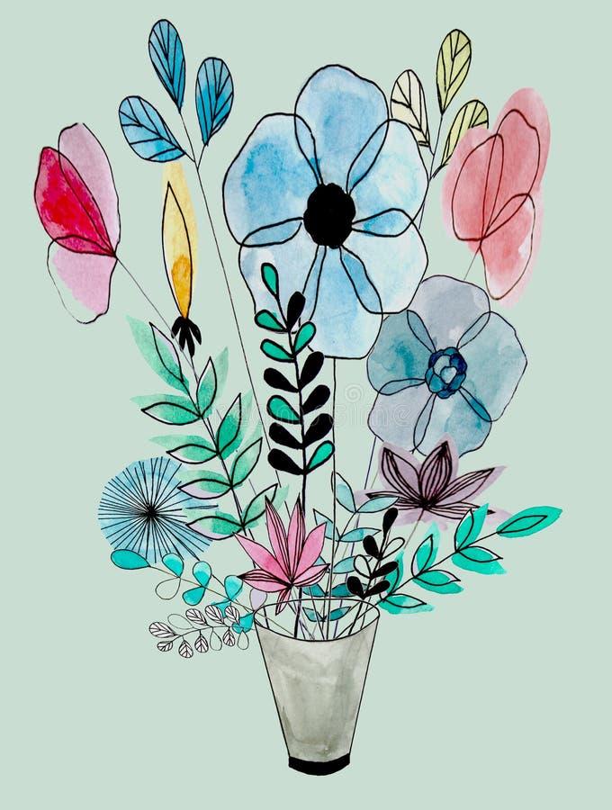 Ramalhete floral da aquarela ilustração do vetor