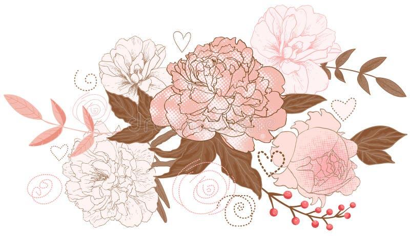Ramalhete floral das peônias ilustração do vetor