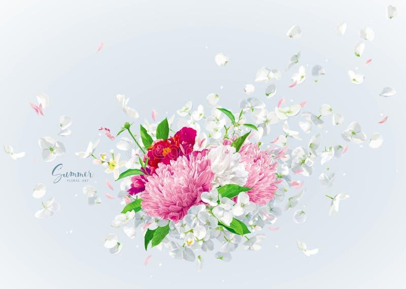 Ramalhete floral do vetor com pétalas do voo ilustração stock
