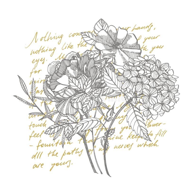Ramalhete Flores e galhos da mola Peônias, hortênsia, Rosa Ilustra??o bot?nica do vintage Grupo preto e branco de ilustração royalty free