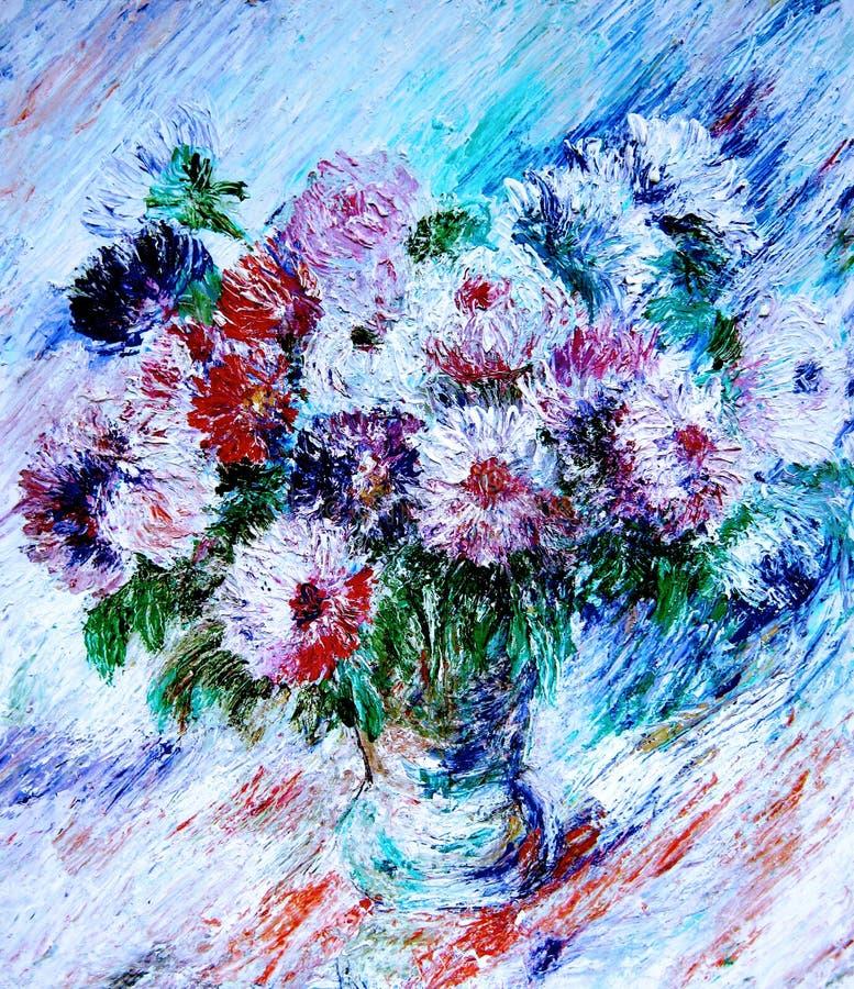 Ramalhete lilás dos ásteres na tabela ilustração stock