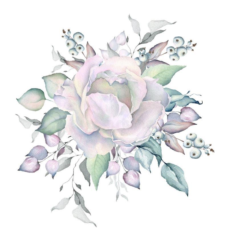 Ramalhete nevado das rosas brancas da aquarela ilustração stock