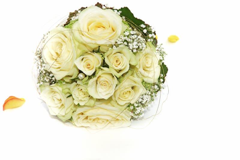 Ramalhete nupcial branco de Rosa fotos de stock royalty free