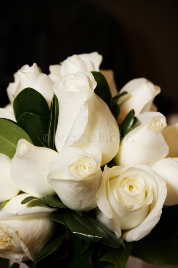 Ramalhete nupcial das rosas brancas fotos de stock royalty free