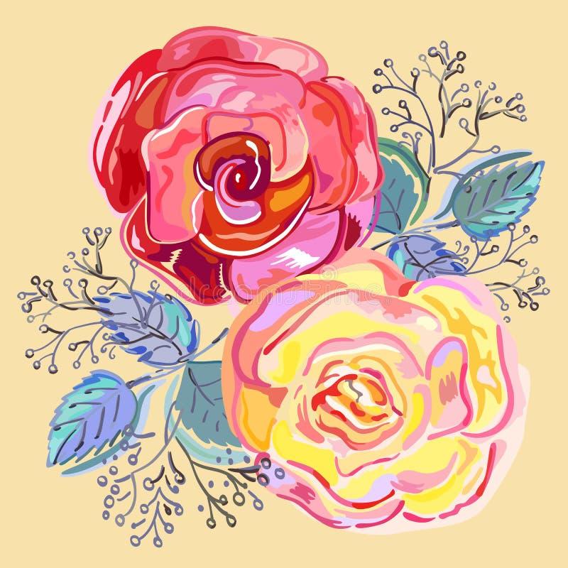 Ramalhete pequeno cor-de-rosa das rosas vermelhas do pêssego ilustração do vetor