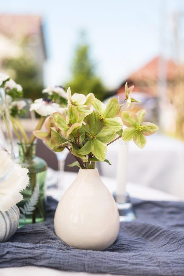 Ramalhete pequeno do Hellebore em um vaso branco foto de stock royalty free