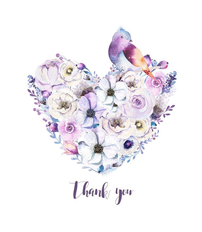 Ramalhete piony floral do coração da rosa do vintage da aquarela Mola de Boho imagens de stock royalty free