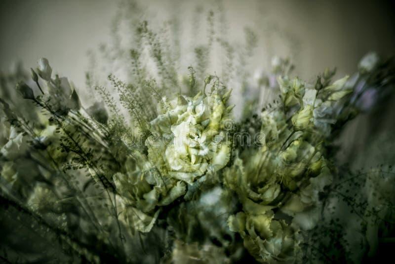 Ramalhete rico da flor do lisianthus na exposição múltipla fotos de stock royalty free