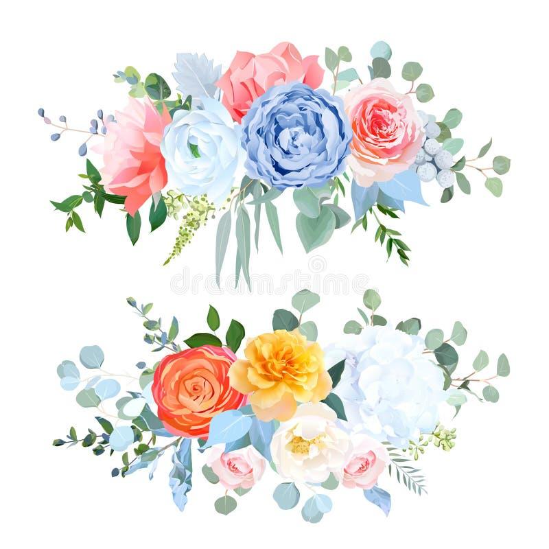 Ramalhetes azuis, alaranjados, amarelos, corais empoeirados do casamento do vetor das flores ilustração stock