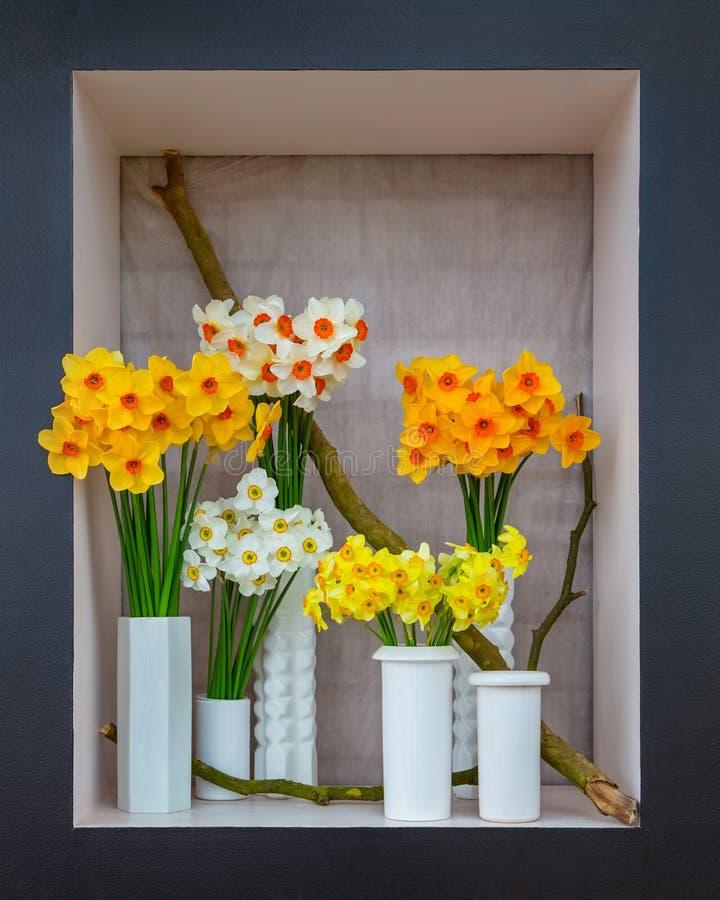 Ramalhetes coloridos dos narcissuses nos vasos brancos imagem de stock royalty free