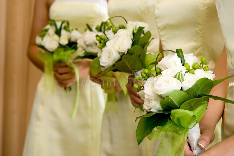 Ramalhetes da dama de honra do casamento imagem de stock