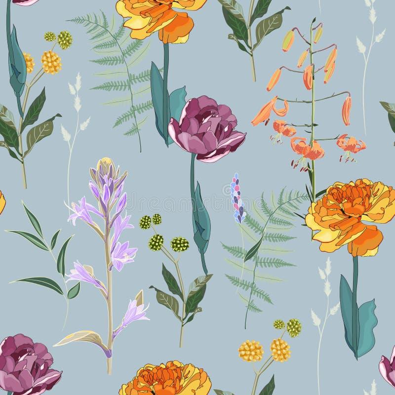 Ramalhetes da mola no fundo azul do vintage Teste padr?o sem emenda com flores delicadas ilustração stock