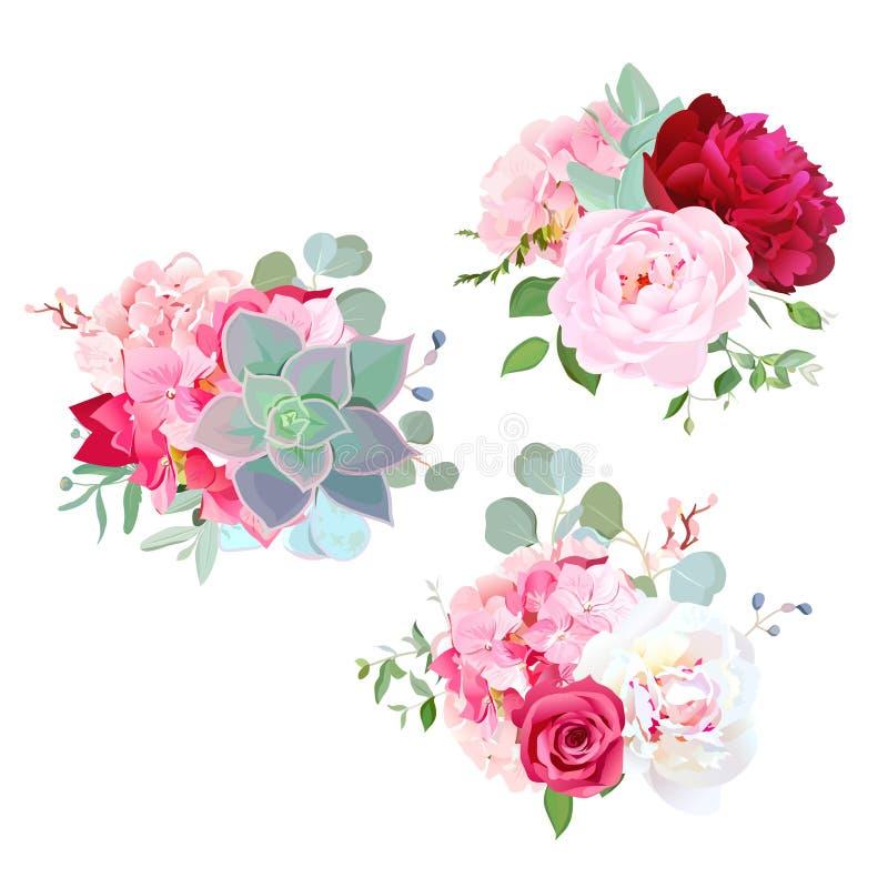 Ramalhetes de florescência do projeto do vetor das flores do casamento ilustração stock