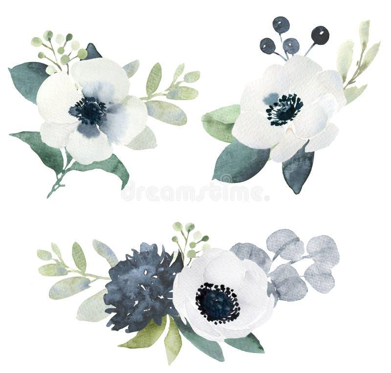 Ramalhetes florais do casamento da aquarela com hellebore preto e branco ilustração do vetor