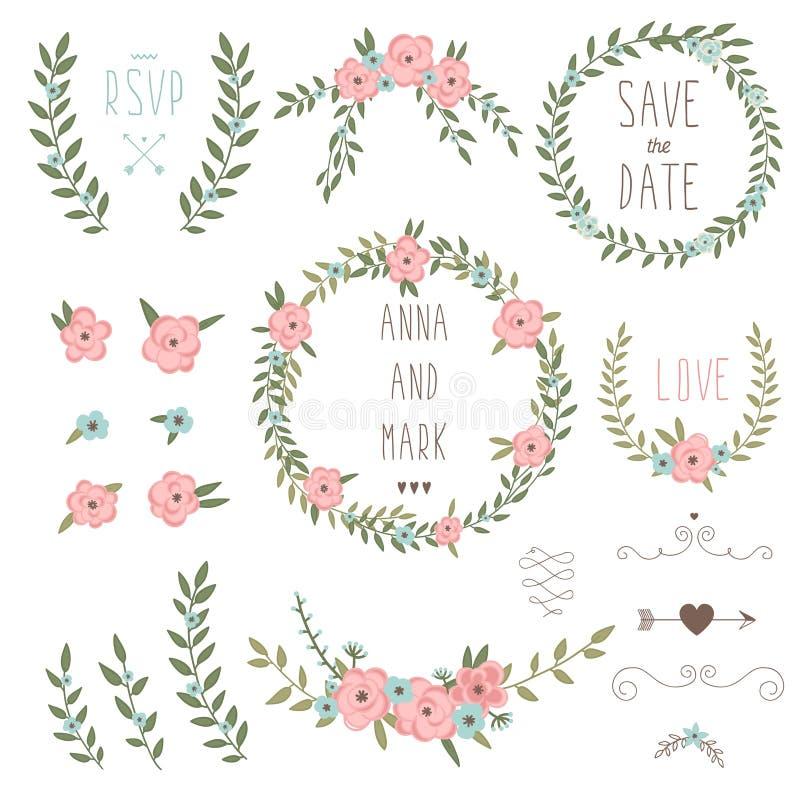 Ramalhetes florais retros bonitos e grinalda ilustração stock