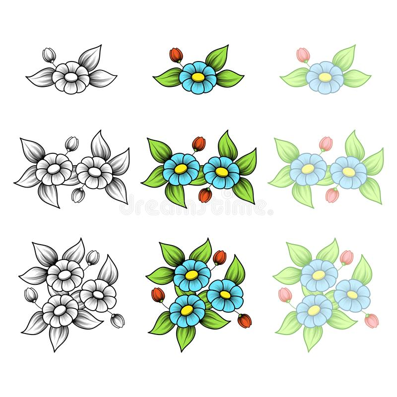 Ramalhetes pequenos da margarida ilustração royalty free
