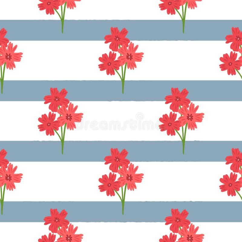 Ramalhetes simples das flores em fundo listrado Teste padrão sem emenda floral ilustração royalty free