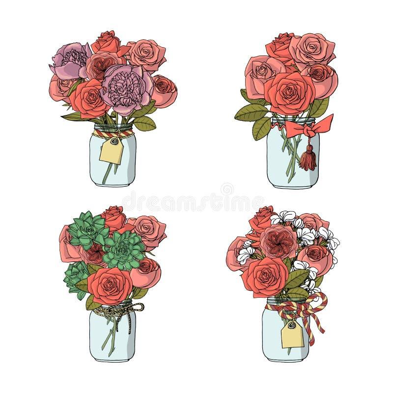 Ramalhetes tirados mão do estilo da garatuja de flores diferentes: flor cor-de-rosa, conservada em estoque, peônia, plantas carnu ilustração do vetor