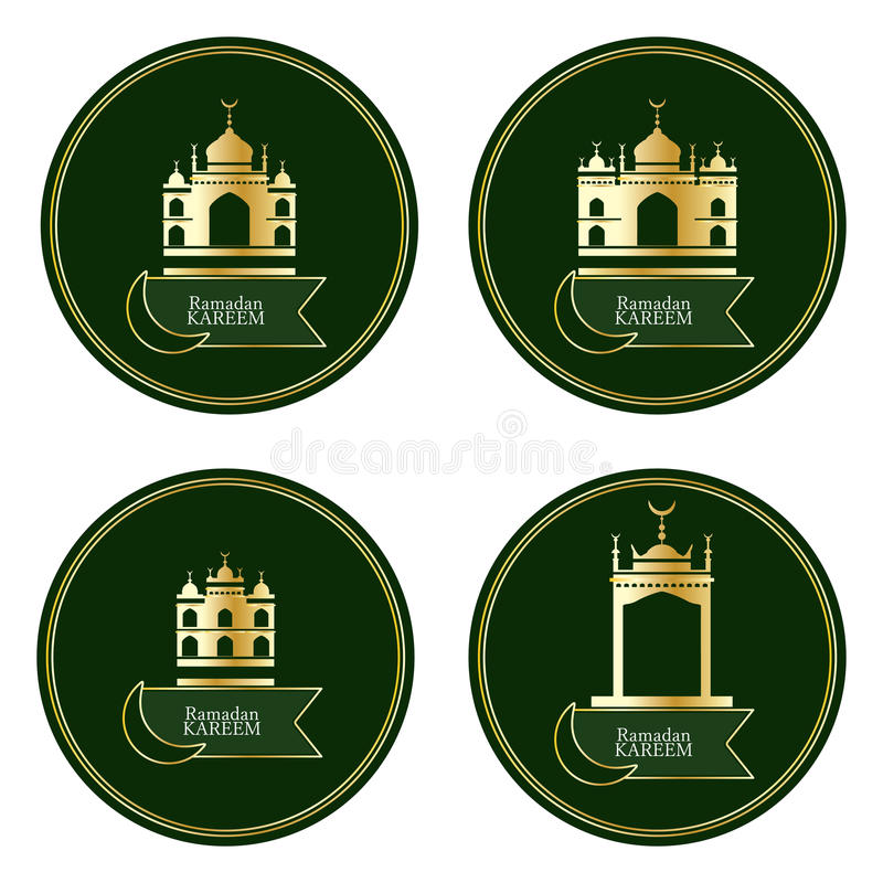 Ramandan Kareem islamu budynku okręgu złocisty set royalty ilustracja