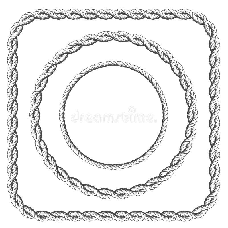 Ramar av det vridna repet med rundade hörn royaltyfri illustrationer