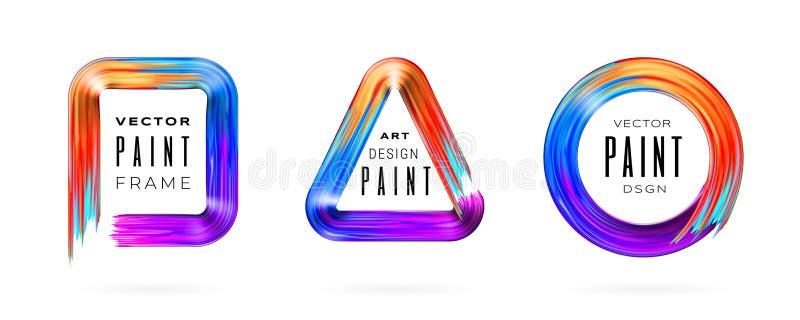 Ramar eller gränser för slaglängd för målarfärgborste geometriska stock illustrationer