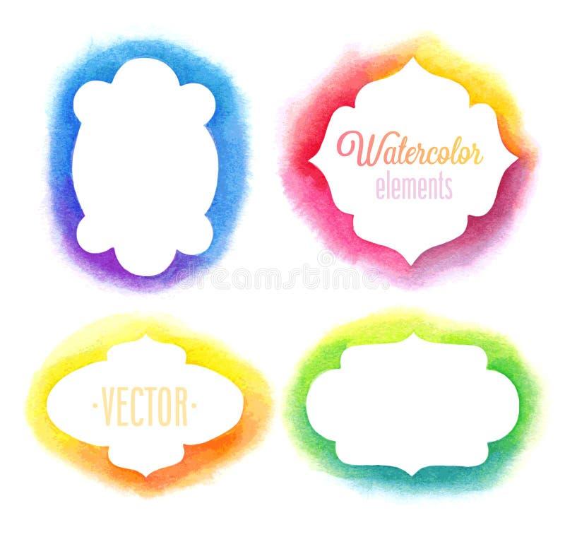 Ramar för beståndsdelar för vektorvattenfärgdesign vektor illustrationer